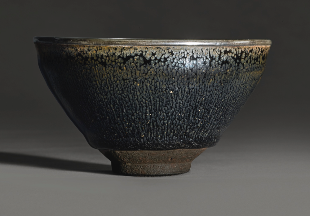 "A white-metal bounded rim ""oil spot-hare's fur"" Jian ware tea bowl, Southern Song dynasty (1127-1279),sold for US$ 1,092,500.00 at Sotheby's lot 602, March 15, 2017, New York"
