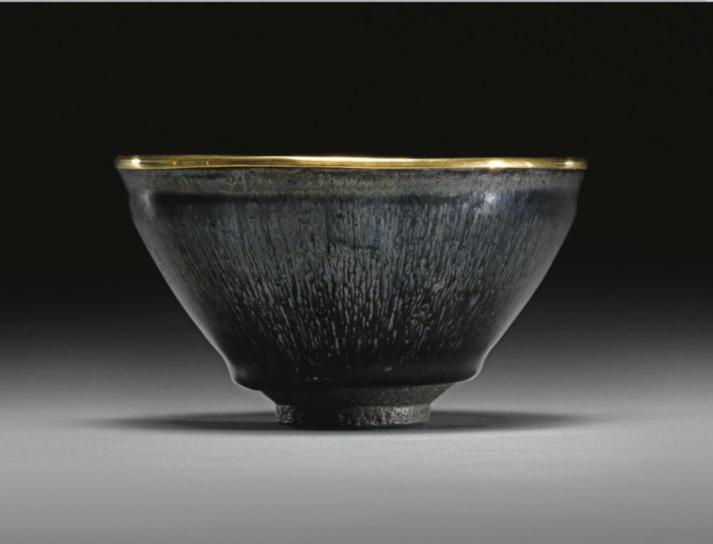"A gold bounded rim ""hare's fur"" Jian ware tea bowl, Southern Song dynasty (1127-1279),sold for GBP 1,105,250.00 at Sotheby's lot 7, May 11, 2011, London"