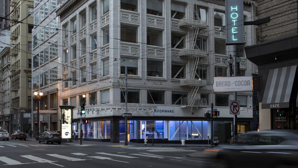 Modern Storefront - Located in downtown San Francisco, we were hired to produce an interactive art installation that comes alive every night.