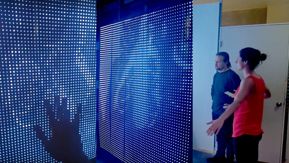 Body-Tracked Simulation - The installation uses IR cameras to track the movement of viewers walking by.