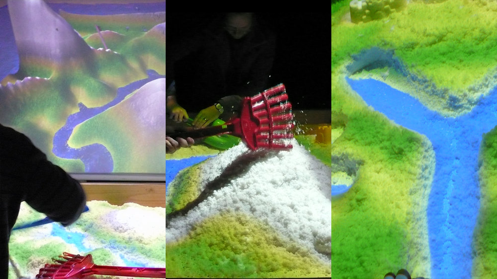 Real-time Dynamic Feedback - The landscape adjusts as participants shape valleys, dig rivers, and pile up mountains.