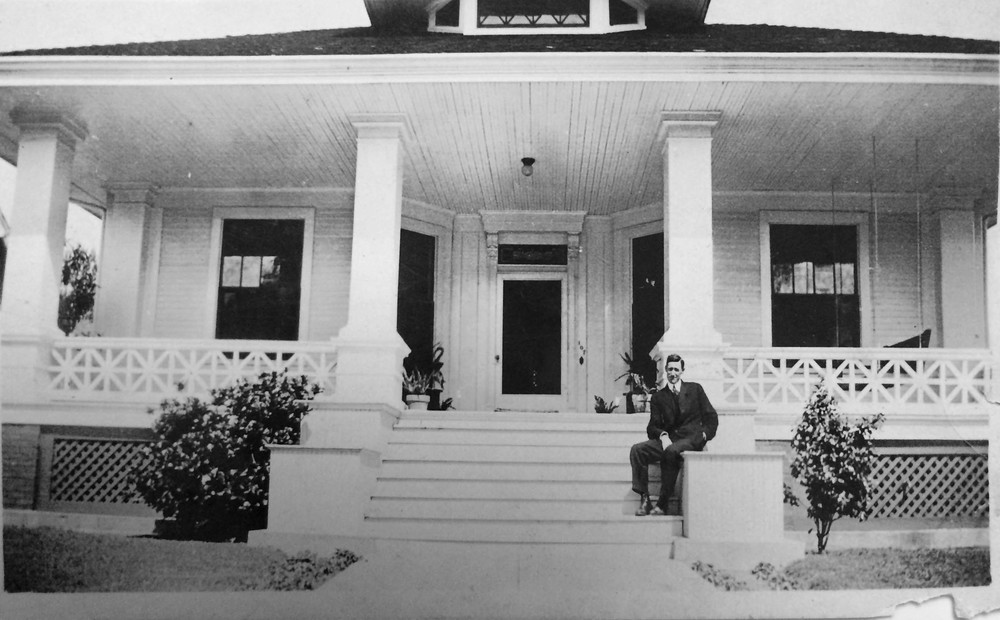 Mrs. Myrt's father in front of the home, pre-1940.