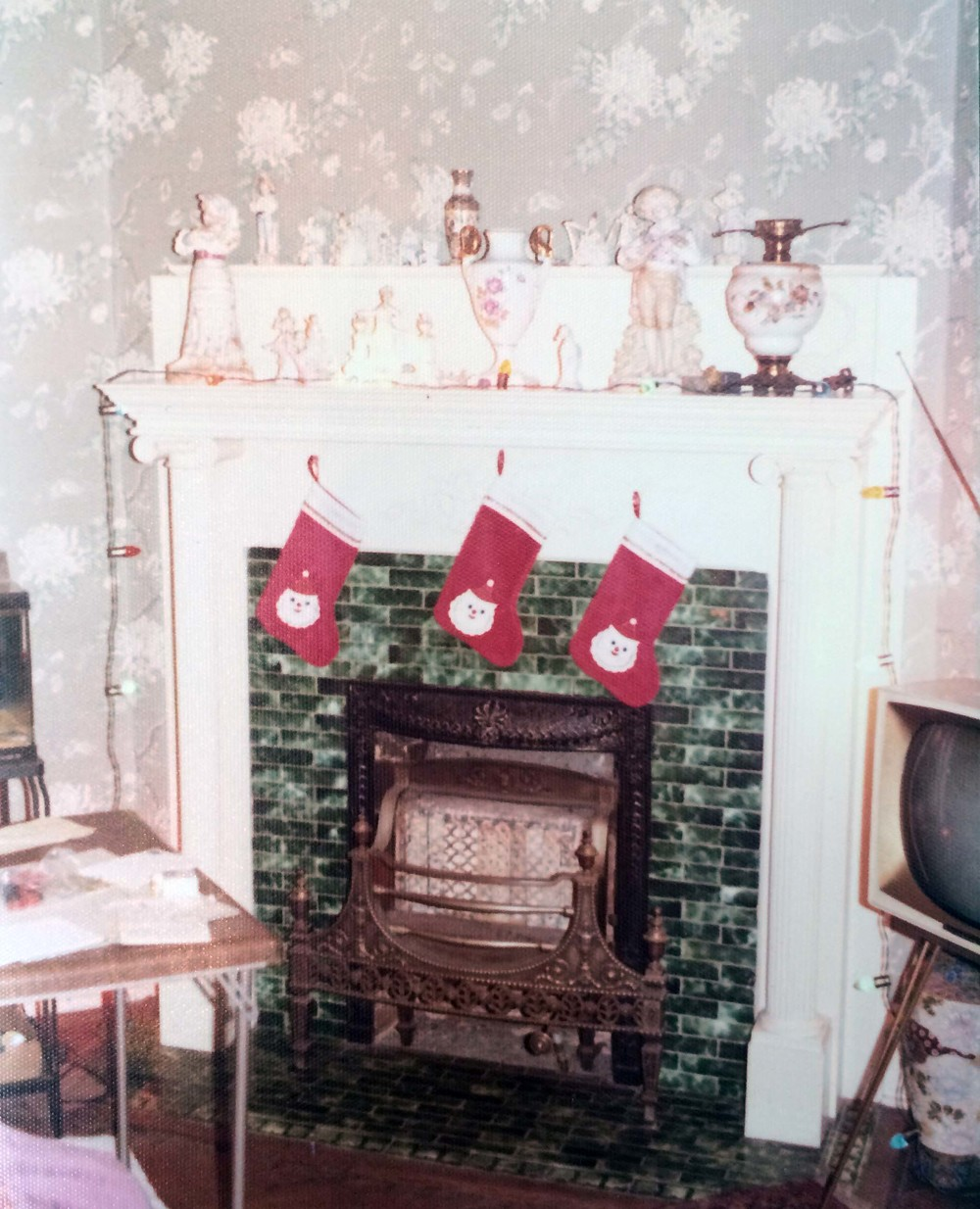 Stockings hung over the fireplace for the Ford boys.
