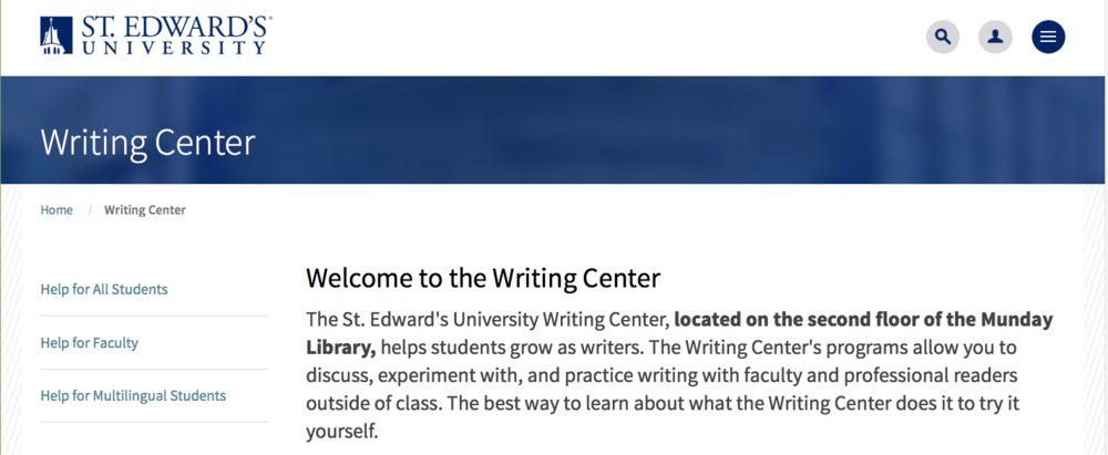 New Writing Center homepage (click to expand)
