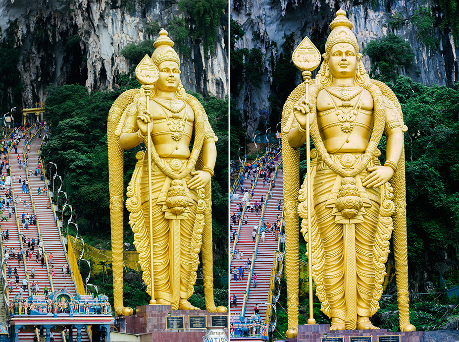 140 FT. STATUE OF A HINDU GOD STOOD GUARD BEFORE ENTERING THE TEMPLES AND SHRINES.