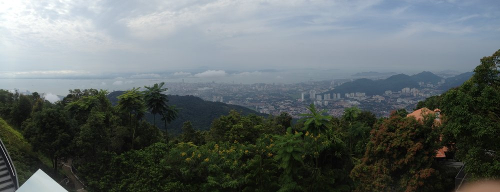 VIEW OF THE CITY FROM THE TOP OF PENANG HILL.
