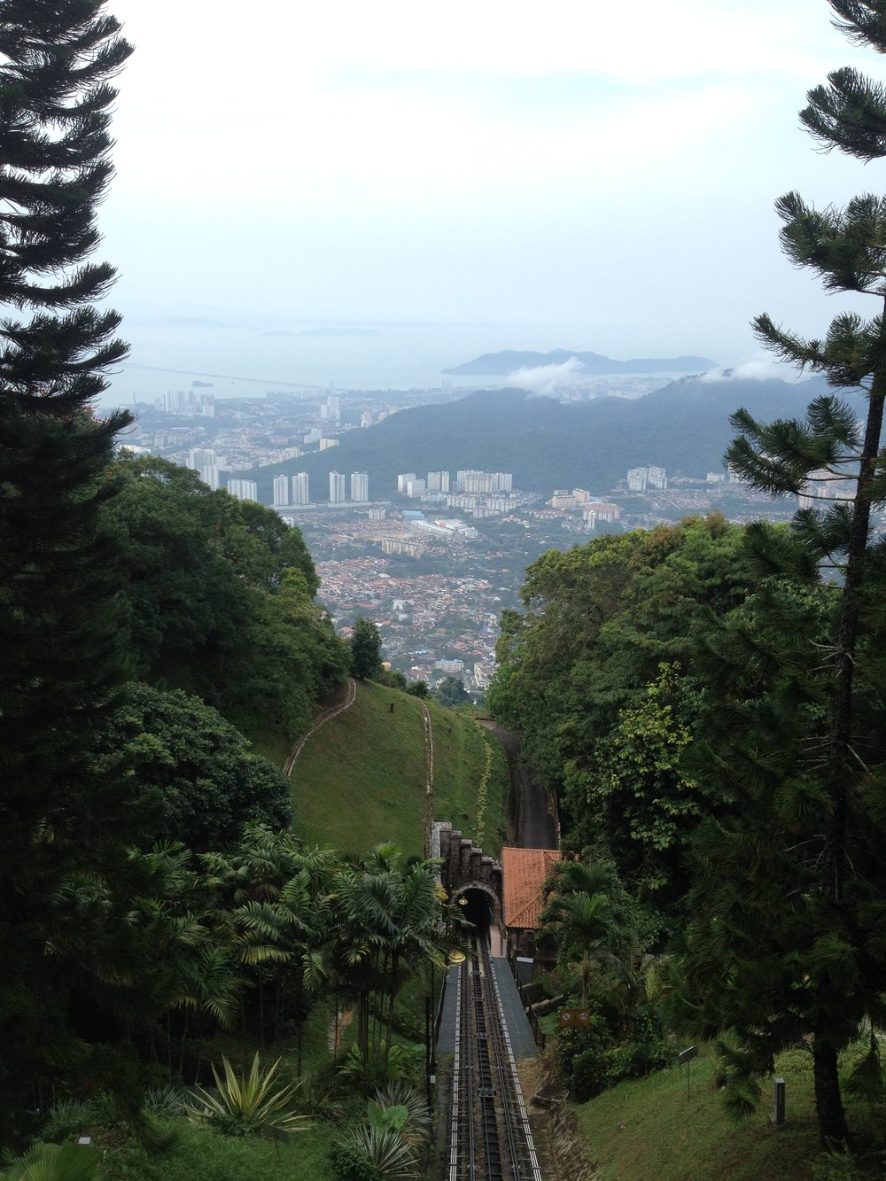 RIDING THE INCLINE LIFT TO GET TO  PENANG HILL