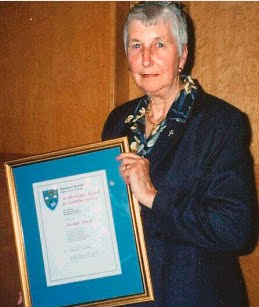 Ave Petch with her 2003 'Bishop's Award for Faithful Service'
