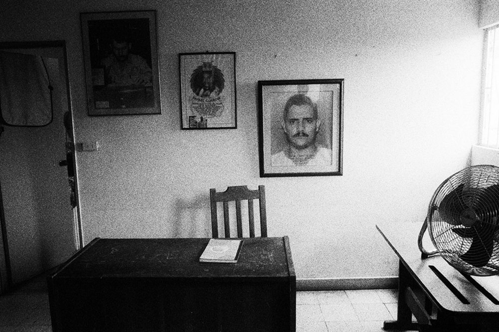 Offices of the Segovia section of the Sintraminergética miners union, with photographs of assassinated union leaders on the wall. The union is still subject to numerous death threats, which leaders believe come from paramilitary groups opposed to the union's activity on behalf on the rights of mine workers.
