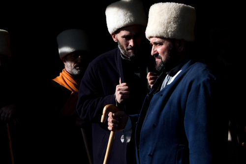 Men belonging to the White Hats Sufi sect attend Dhikr, a religious ceremony to praise Allah held at the funerals. Sufism has witnessed a strong come back in Chechnya, with the republic's president Kadyrov being one of its biggest proponents . Grozny, Chechnya, Russia, May 2010