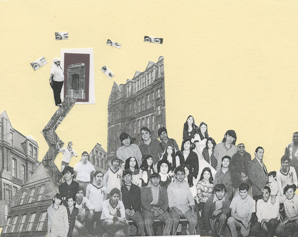 Janneth Ballesteros  Mysterious Castle , collage, 2015. Using pictures of Froebel School, a site of the 1973 student uprisings in Chicago, and made in a workshop with artist and educator Nicole Marroquin. Courtesy of Nicole Marroquin.