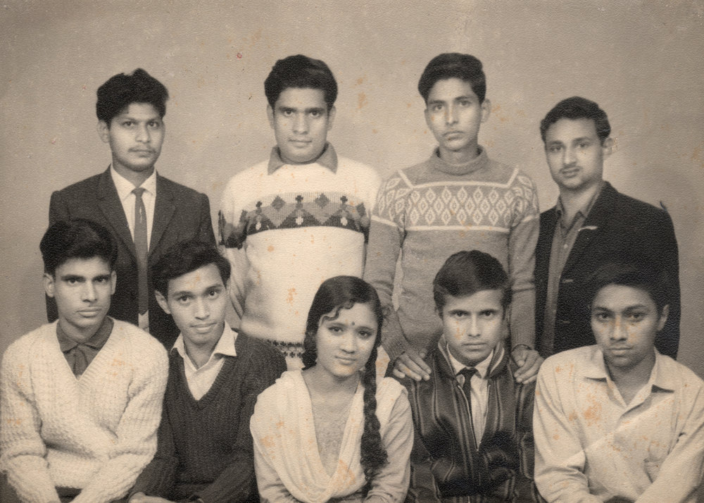 """Nepal Picture Library,  Feminist Memory Project , Nepal. Each member of the graduating class of 1966 from Thakur Ram Campus, Birgunj, received a copy of this photo. Of the nine new graduates, one refused to have it framed and hung on the wall of her house. Vidya Pradhan, the only female graduate of her class, simply walked back with the photo tucked away in her bag. """"Most of my friends said they would frame it and preserve it."""" But Vidya wanted to put the photo somewhere she would not be reminded of her struggle to become a graduate. """"My father was not totally against education, but preferred us to stay close to home,"""" she says."""