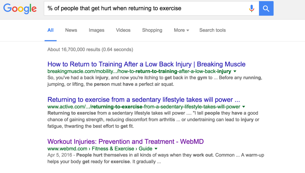 Google search of the percentage of people that get hurt when returning to exercise.jpg