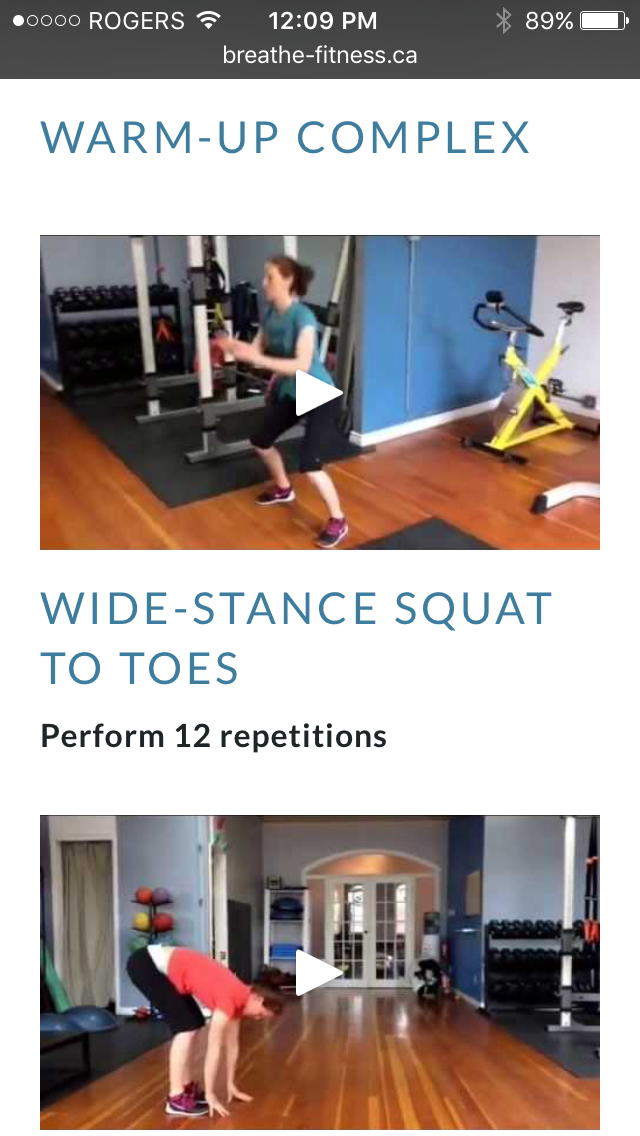 Free On-line Home Workout program video from Breathe Fitness