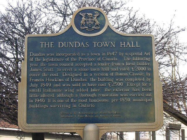 Dundas Town Hall - Plaque