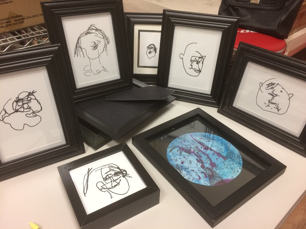 Drawing exercises framed for our exhibition