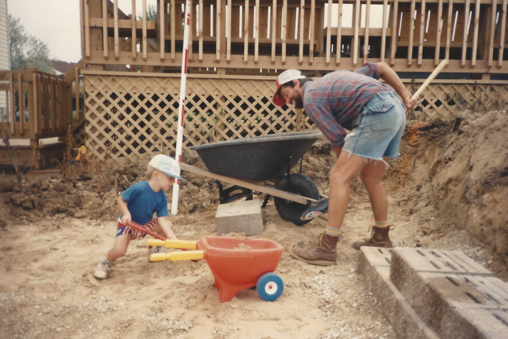 Did we mention we're a family business? Dan and his son Josh hard at work in the early days of Daniel's Landscaping.