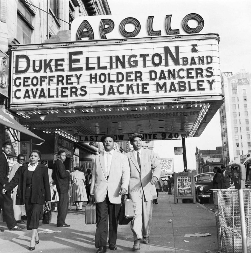 Trumpeter Clark Terry (pictured) walks with his son Rudolph outside the Apollo Theater in 1955. Photo: G. Marshall Wilson/Ebony Collection/AP