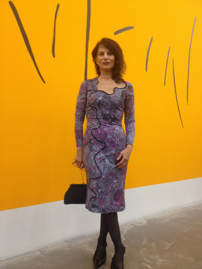 Lina Bertucci, photographer, wearing the Rome Dress for her opening night at The New Museum