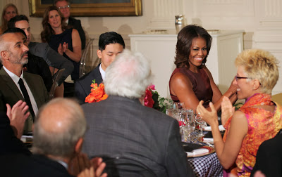 Michelle Obama admiring the NY dress worn by Suzan Wines   (Azin's partner at I-Beam Design) at the White House honoring her dad, James Wines', Lifetime Achievement Design Award.