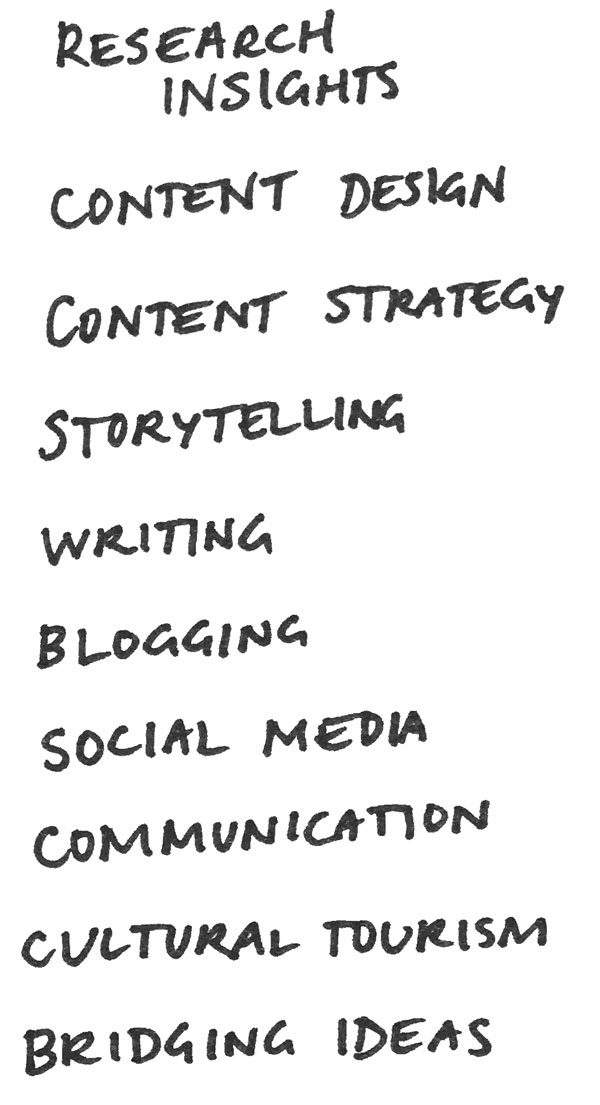research insights  content design  content strategy  storytelling  writing  blogging  social media  communication  cultural tourism  bridging ideas
