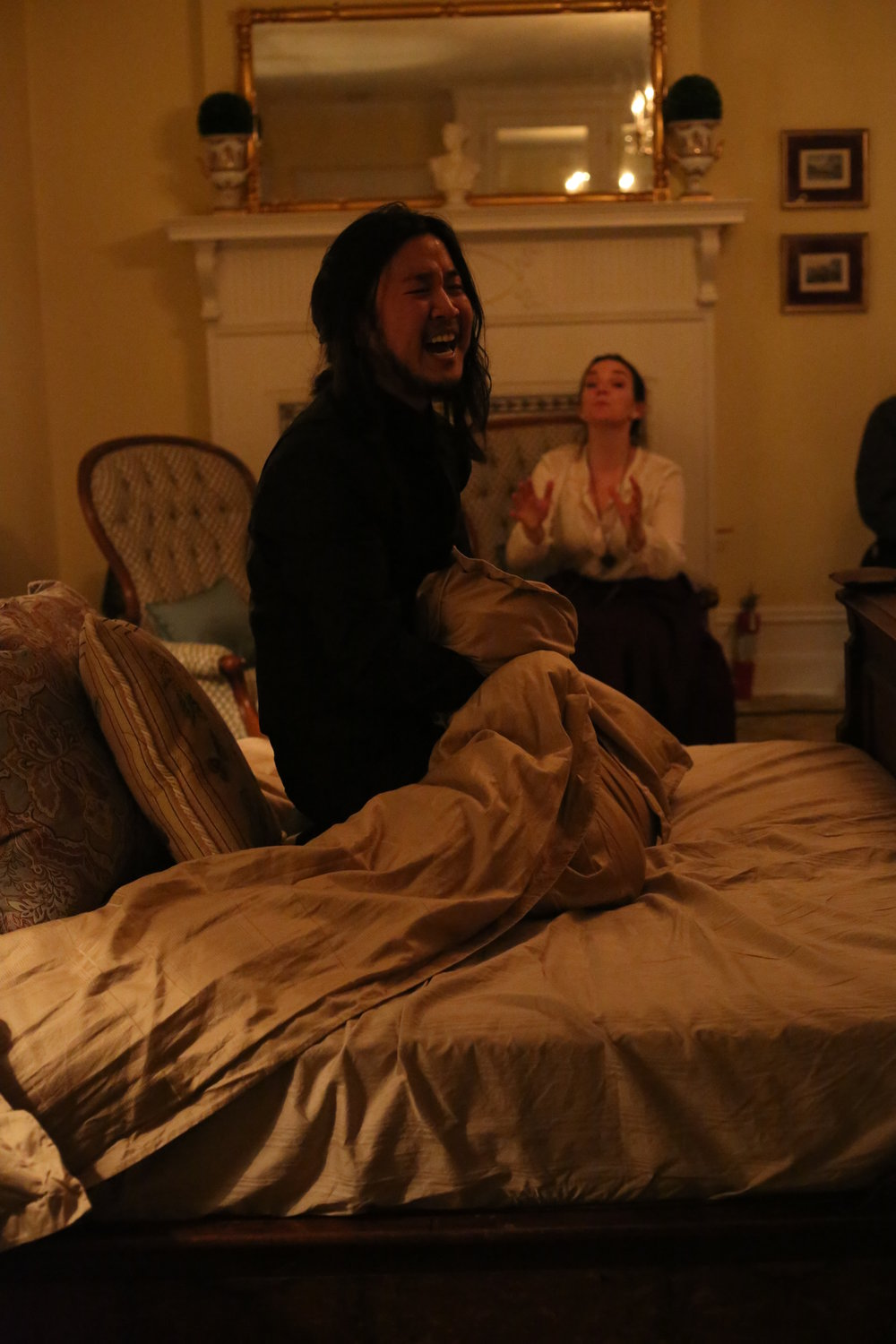 Kevin Lin as Hamlet and Tatiana Pavela as Gertrude in the historic Stimson-Green Mansion