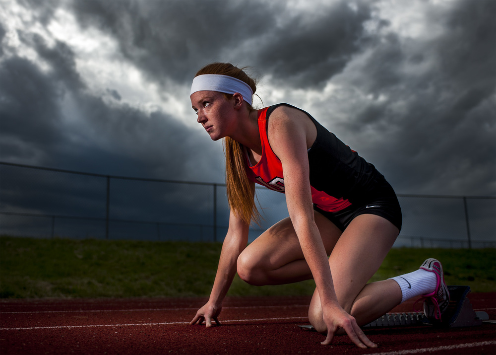 Lewis-Palmer High School runner Nicole Montgomery was chosen as The Gazettes Peak Performer of the Year for girls track. Nicole was photographed at the Lewis-Palmer High School track.