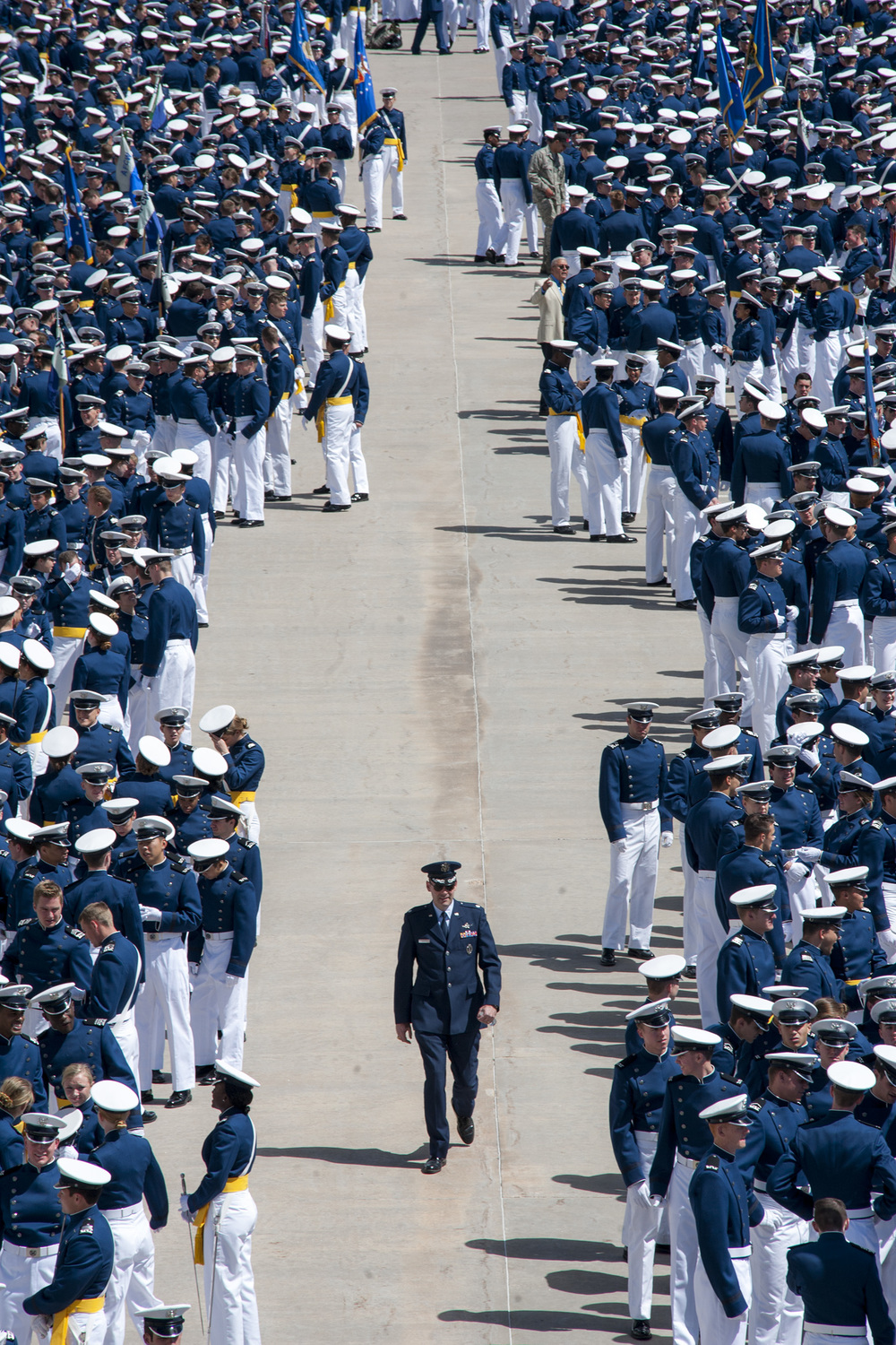 U.S. Air Force Academy cadets prepare to walk in front of their friends and families for the annual Air Force Academy graduation parade held on March 26, 2015, inin Colorado Springs, Colorado. The parade is the last parade for Firsties before they graduate and change of command to second classmen is accomplished.