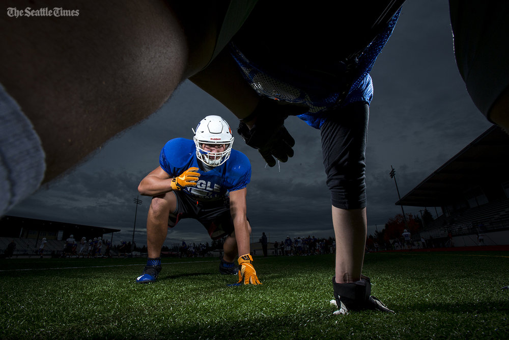Graham-Kapowsin high schools Foster Sarell, who is the top-rated high school offensive lineman in the nation,  who practiced at Bethel High School in Spanaway on Tuesday, 25, 2016.