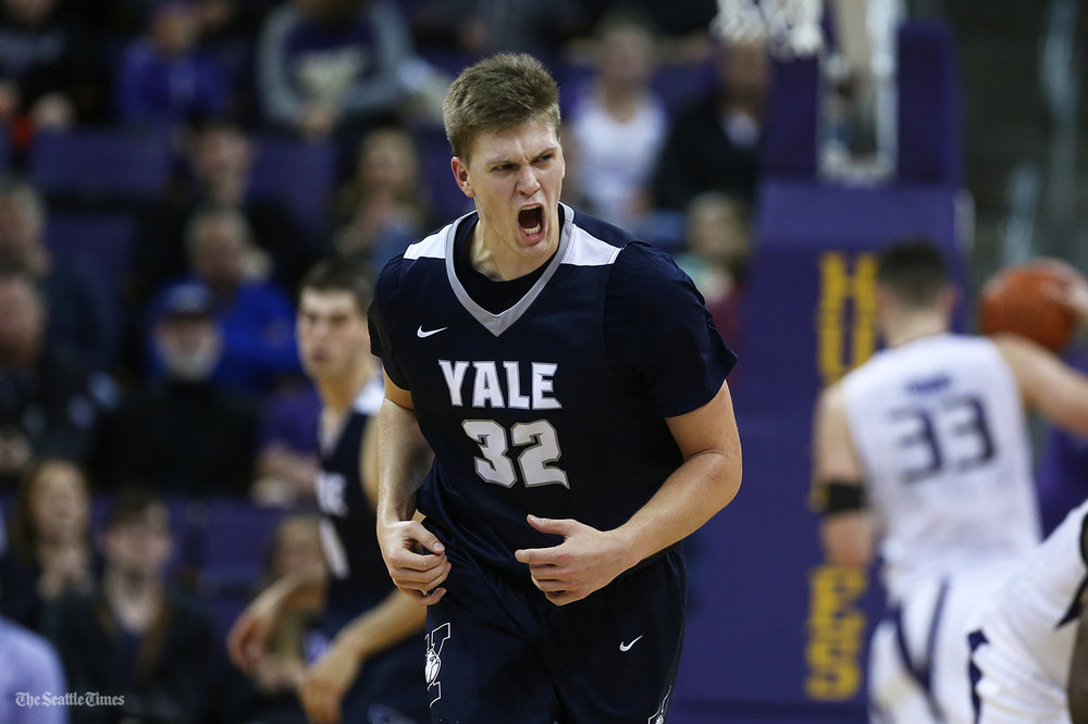 Yale Bulldogs forward Blake Reynolds (32) celebrates after making a 3-point shot during their game against the Washington Huskies at the Hec Edmundson Pavilion on Sunday, November 13, 2016. The Huskies' season opening game unfortunately came with a 98-90 loss over the visiting Bulldogs.