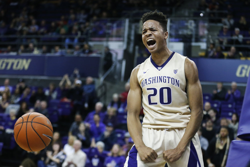 Washington Huskies guard Markelle Fultz (20) celebrates after hammering home a dunk late in the second half of their game against the Western Michigan Broncos on Sunday, December, 18, 2016, held at the Hec Edmondson Pavilion.