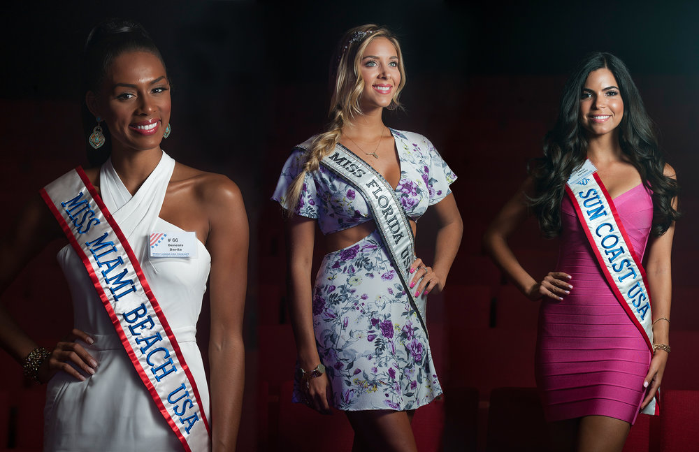 Miss Miami Beach USA Genesis Davila, Miss Florida USA 2016 Brie Gabrielle and Miss Sun Coast USA Idelys Martinez pose for a portrait inside Parker Playhouse during the official media day for the Miss Florida USA Pageant being held over the weekend in Ft. Lauderdale. *Digitally manipulated to form one image using Photoshop.