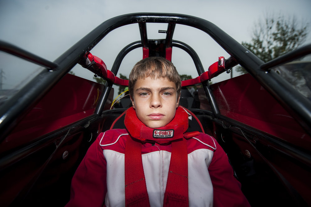 Andrew Schmidt, 12, of Morrison, Illinois, sits in his dragster prior to racing in the 62nd annual World Series of Drag Racing event held at the Cordova International Dragway held on Aug. 28, 2015, in Cordova, Illinois. Schmidt began racing last year after watching his father and grandfather race for years.