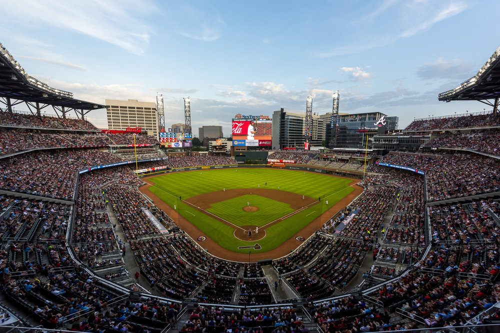 ATLANTA, GA - JULY 4: Overall of SunTrust park against the Houston Astros at SunTrust Park on July 4, 2017 in Atlanta, Georgia. The Astros won 16-4.