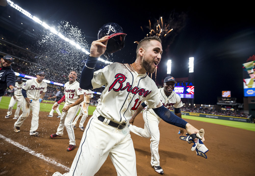 ATLANTA, GA - SEPTEMBER 09: Ender Inciarte #11 of the Atlanta Braves walks it off against the Miami Marlins at SunTrust Park on September 9, 2017 in Atlanta, Georgia. The Braves won 6-5.