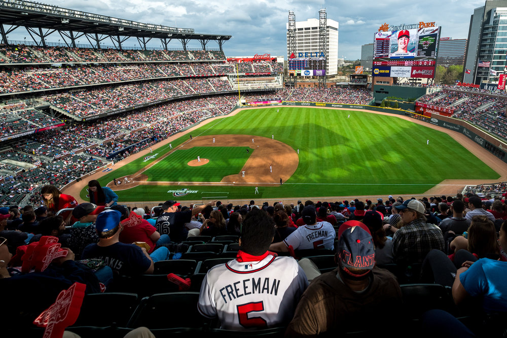 ATLANTA, GA - MARCH 29: Overall shot of SunTrust Park during the game against the Philadelphia Phillies on Opening Day at SunTrust Park on March 29, 2018, in Atlanta, Georgia.