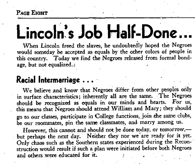 A 1945 editorial in  The Flat Hat , the College of William & Mary's student newspaper. The writer of the editorial, editor Marilyn Kaemmerle, was fired.