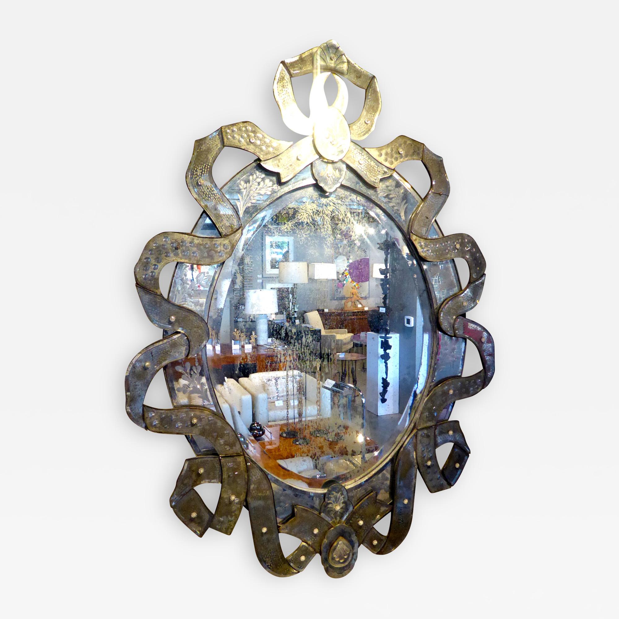 Murano Glass Venetian Cartouche Shaped Mirror Christopher Anthony Ltd