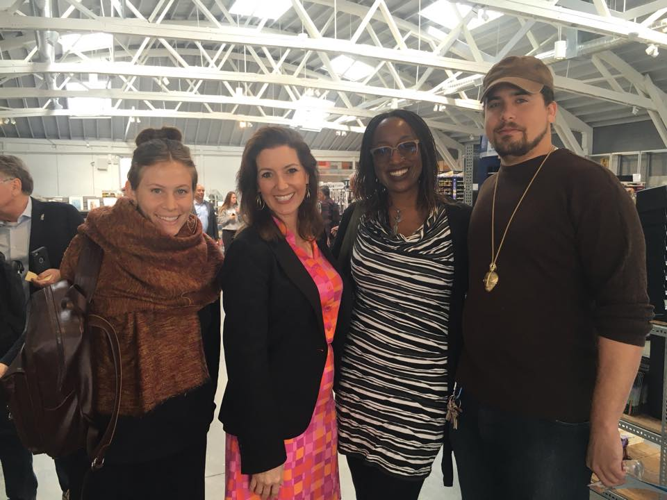 (L to R): Erica Wheeler-Dubin, Oakland Mayor Libby Shaaf, Amana Harris, Justin Metoyer-Mullon