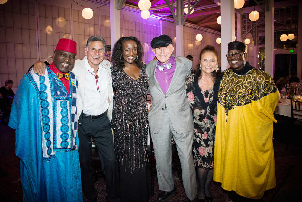 AHC Co-Founder Kokomon Clottey, AHC President Guillermo Ortiz, AHC Executive Director Amana Harris, Founders of Attitudinal Healing International Gerald G. Jampolsky and Diane V. Cirincione-Jampolsky, and AHC Co-Founder Aeeshah Clottey.
