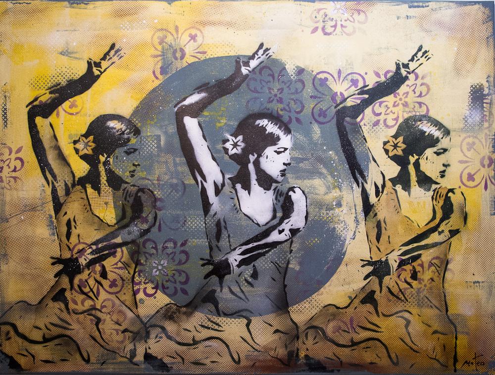 LES 3 DANSEUSES - stencil on canvas /120x90 cm / feb 2016