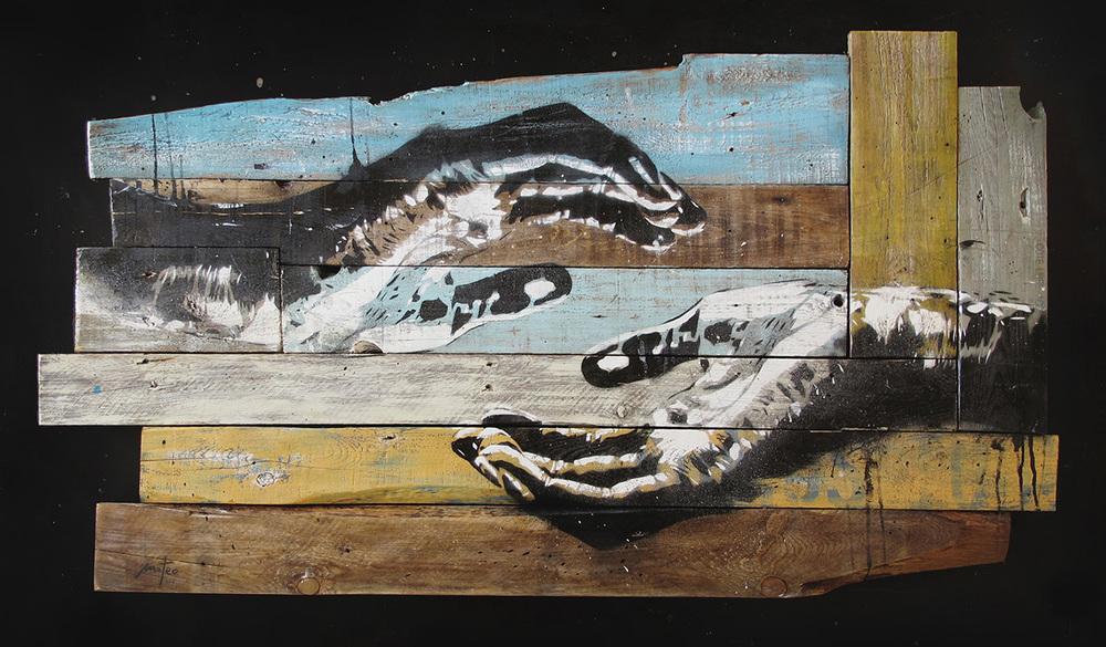 COMPASSION -spray & acrylic on wood /106x50 cm /nov 2014