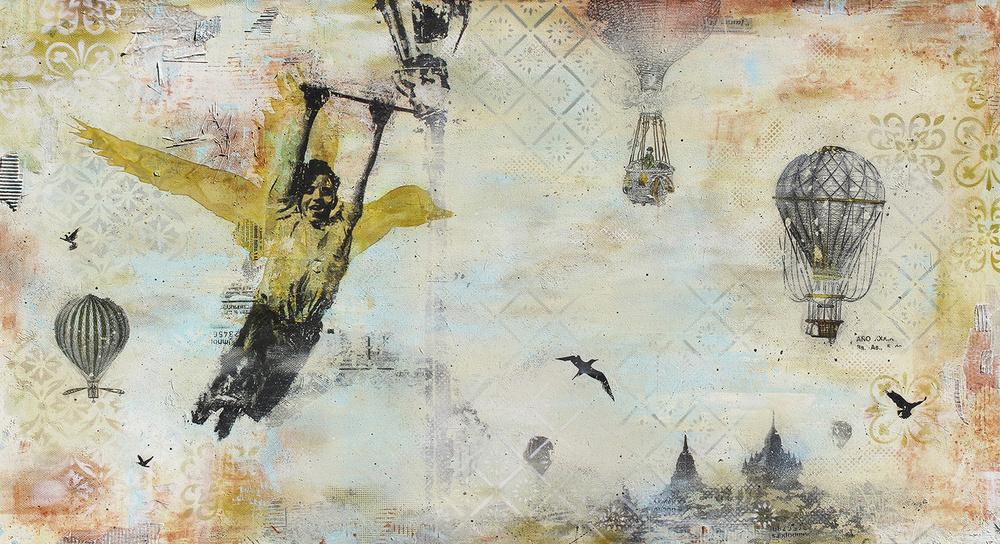 LES MAINS LIBRES - mixed media on canvas / 180x90 cm / mars 2016