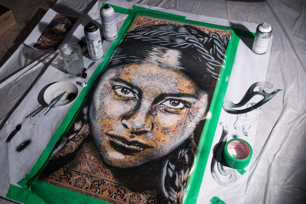 DAFIRA  - Spray paint on Traditional Carpet / 100x50 cm / 2018