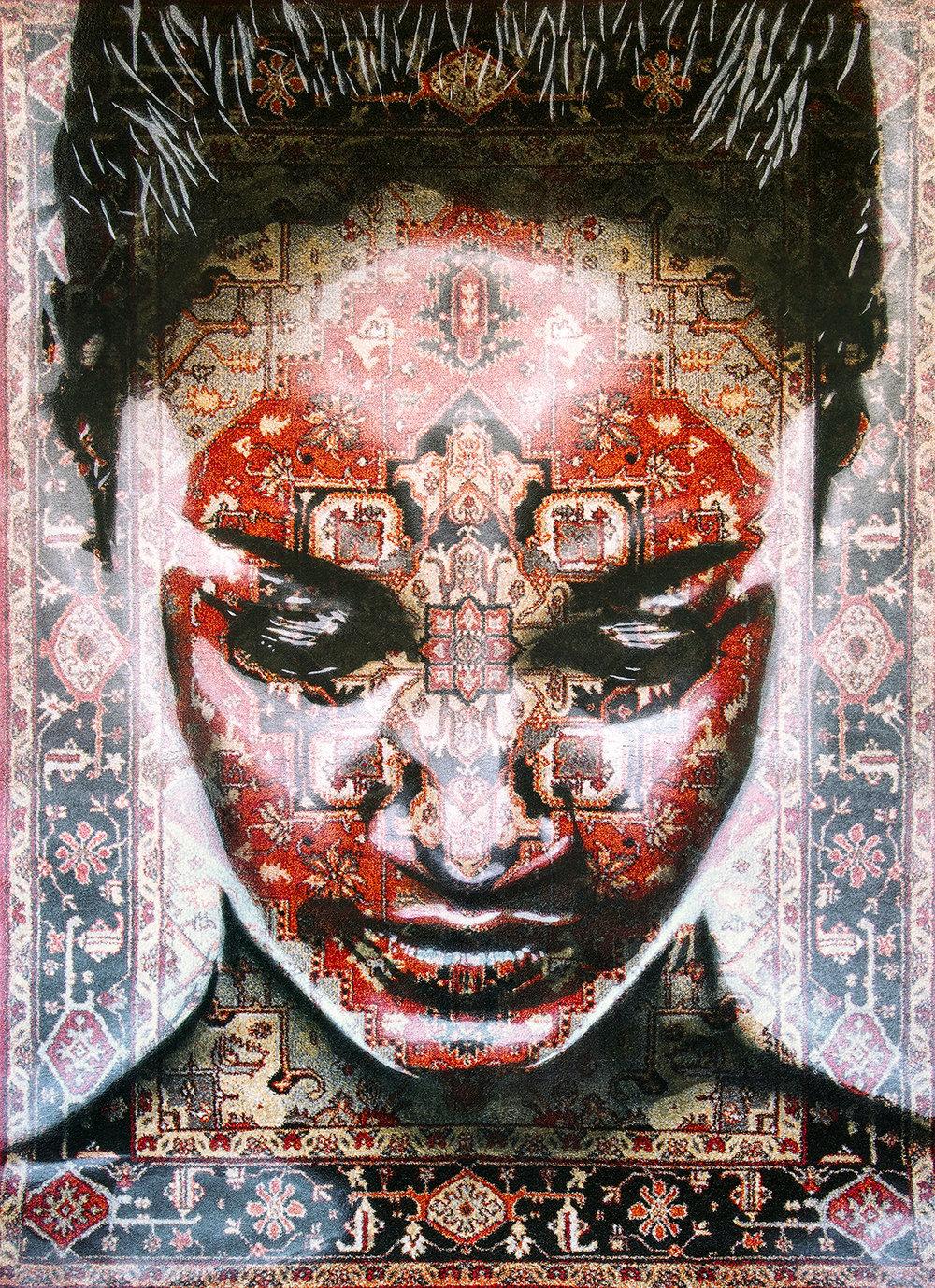 KHAZINA  - Spray paint on Traditional Carpet / 220x160 cm / 2018