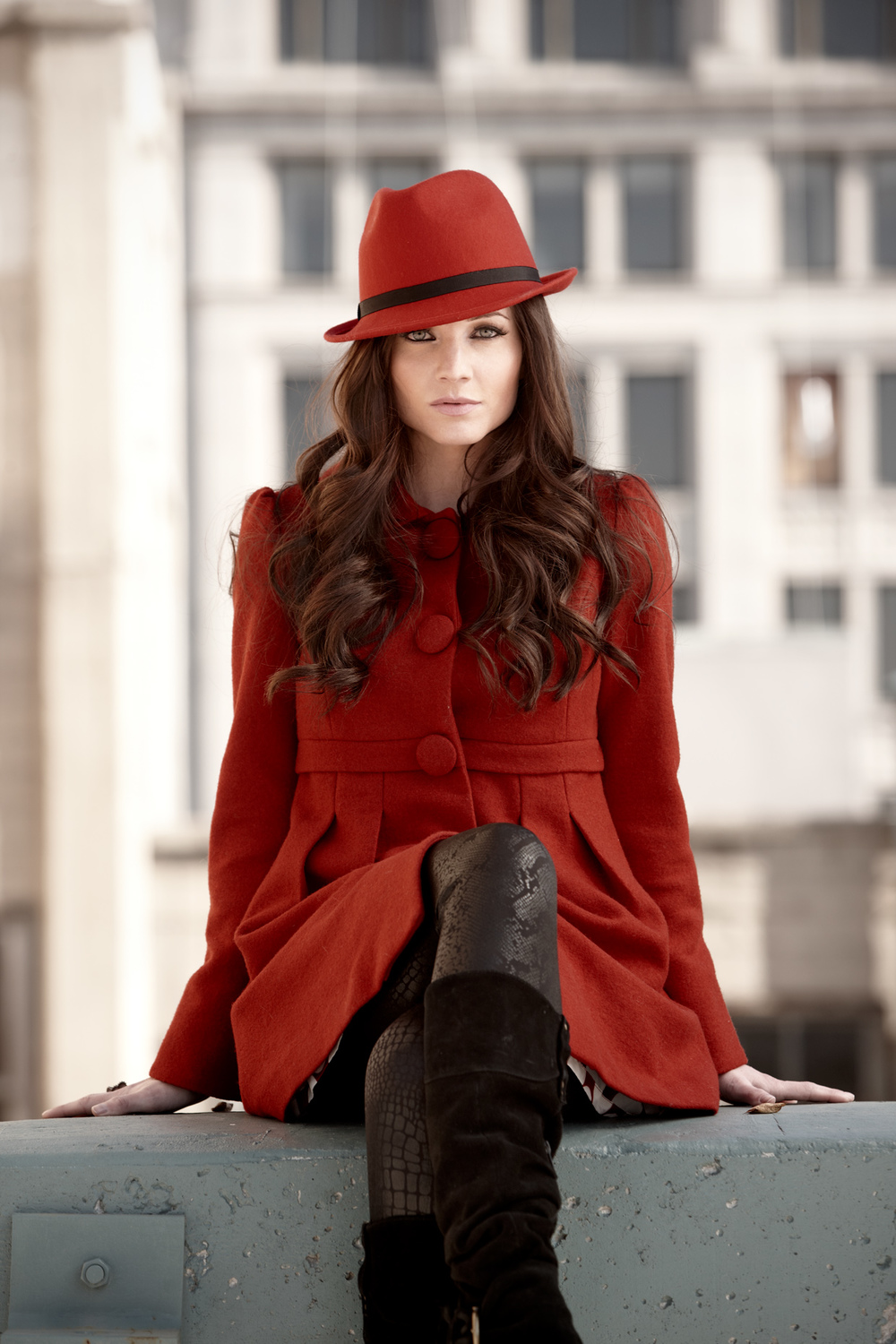 Lifestyle photography Derek Israelsen Red Hat Coat