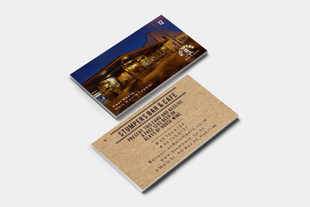 Stumpers Bar & Cafe Beverage Card Design