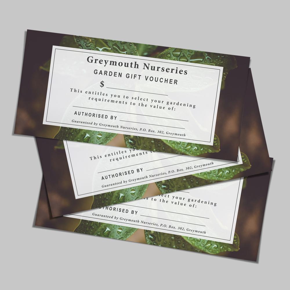 Greymouth Nurseries Gift Voucher Design