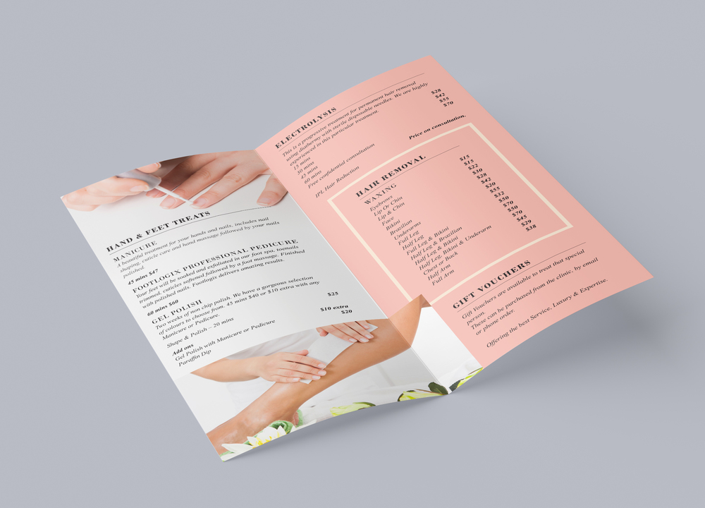 Pure Beauty & Massage Brochure Design