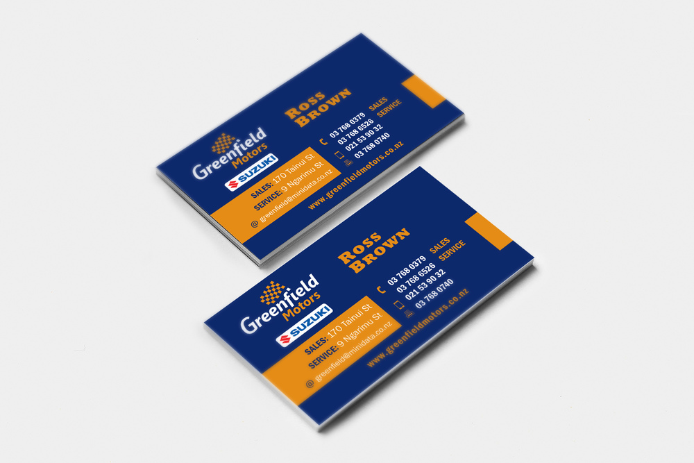 Greenfield Motors Business Card Design